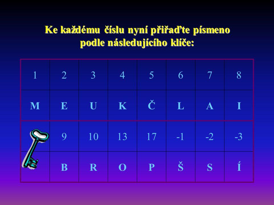 Ke každému číslu nyní přiřaďte písmeno podle následujícího klíče: