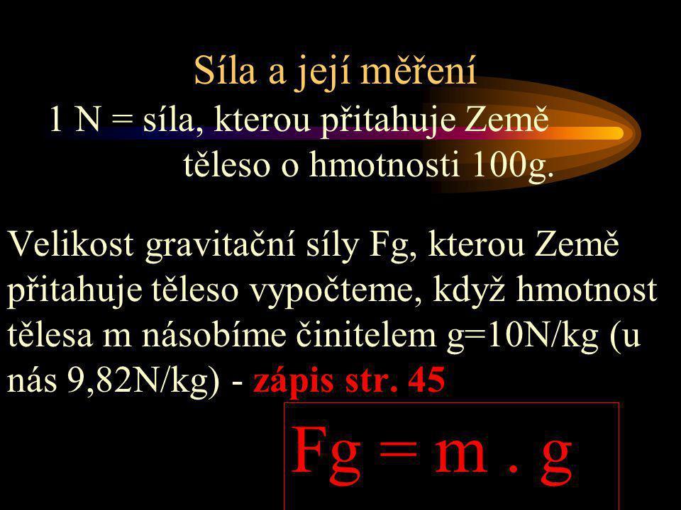 Fg = m . g Síla a její měření