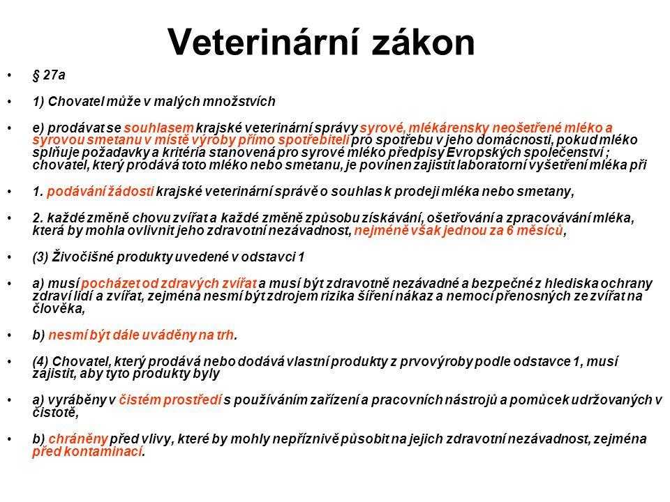 Veterinární zákon § 27a 1) Chovatel může v malých množstvích