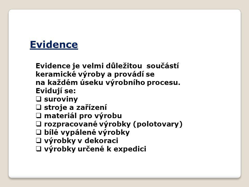 Evidence Evidence je velmi důležitou součástí keramické výroby a provádí se. na každém úseku výrobního procesu.