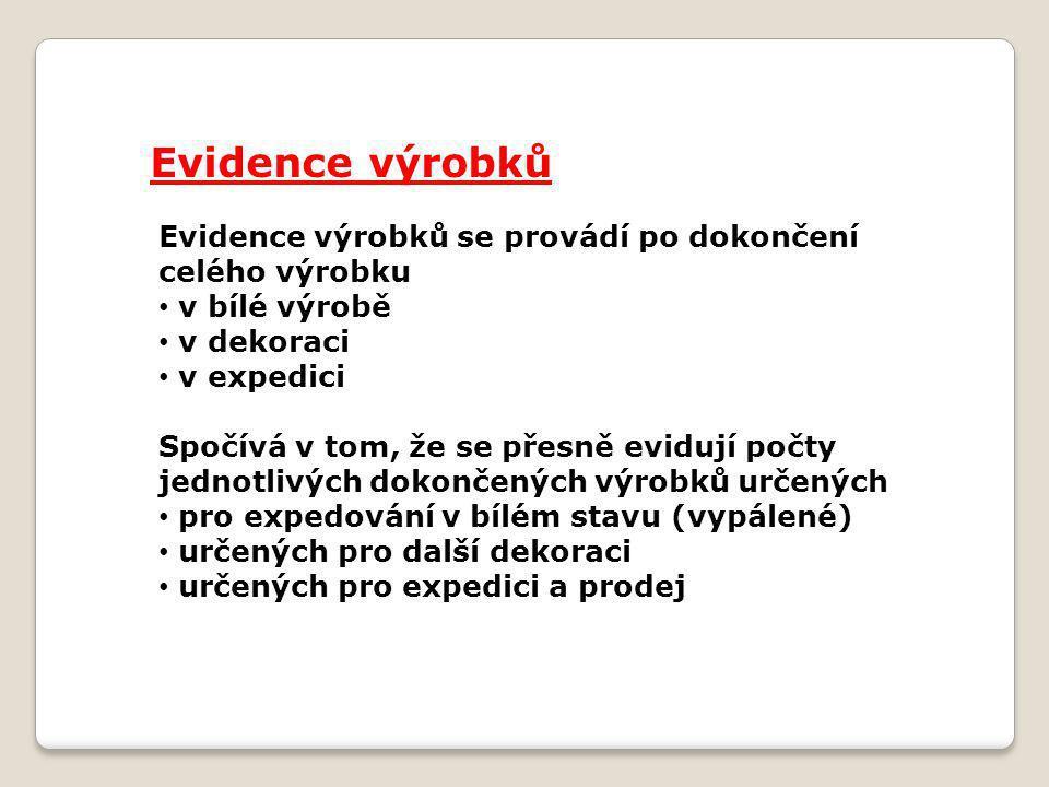 Evidence výrobků Evidence výrobků se provádí po dokončení