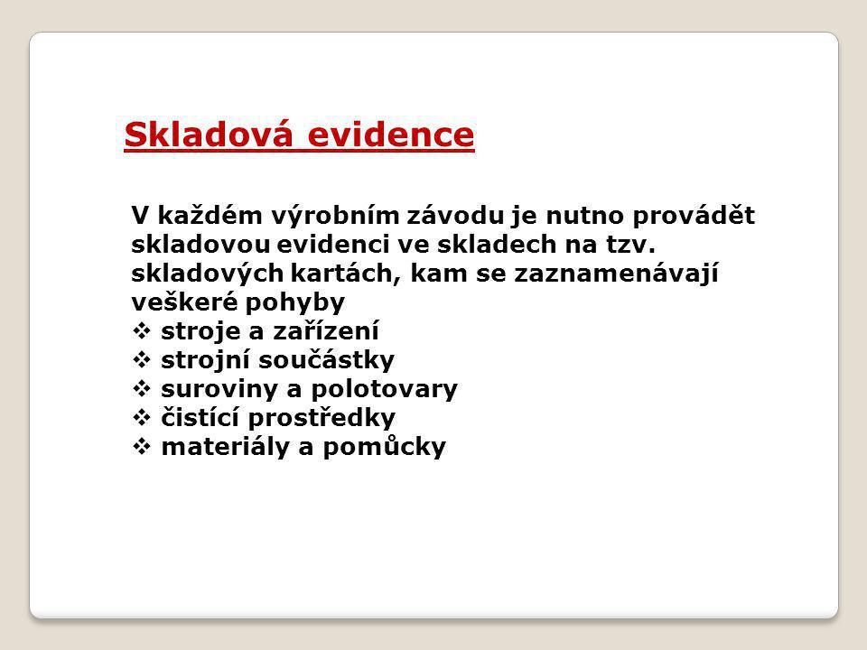 Skladová evidence V každém výrobním závodu je nutno provádět