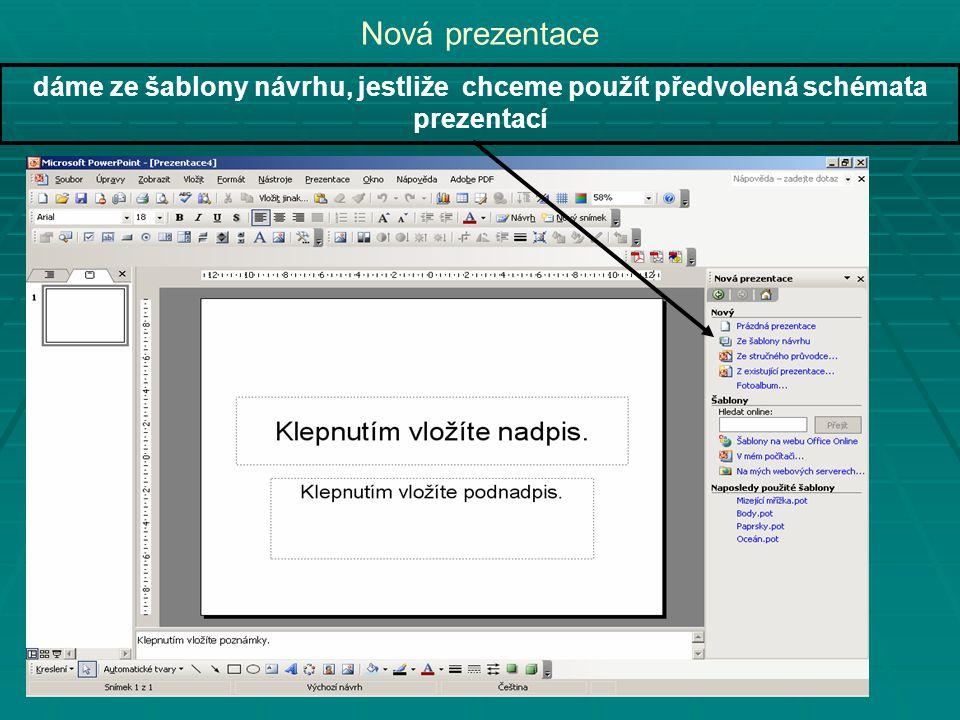 Nová prezentace dáme ze šablony návrhu, jestliže chceme použít předvolená schémata prezentací
