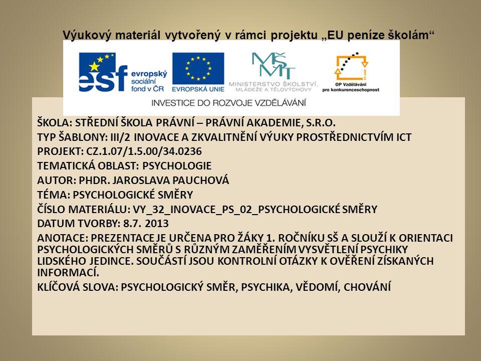 """Výukový materiál vytvořený v rámci projektu """"EU peníze š"""