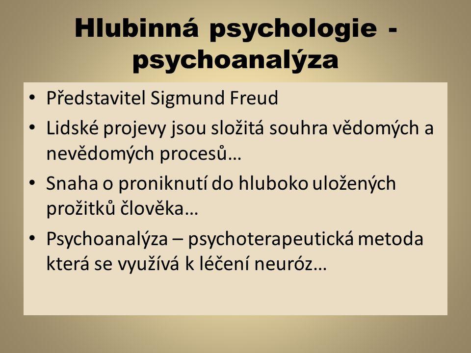 Hlubinná psychologie - psychoanalýza