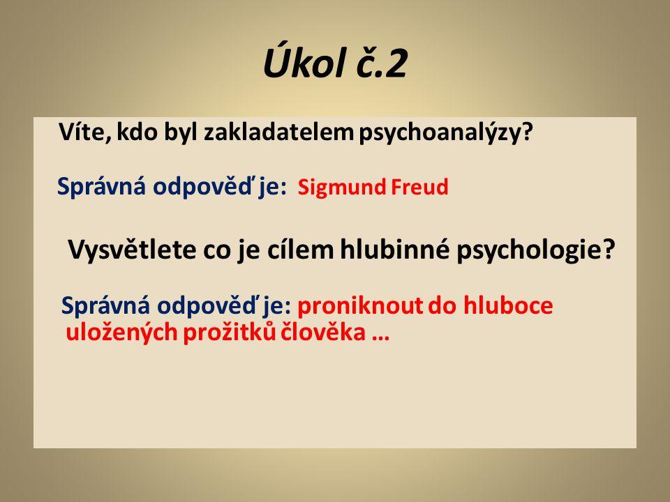 Úkol č.2 Vysvětlete co je cílem hlubinné psychologie