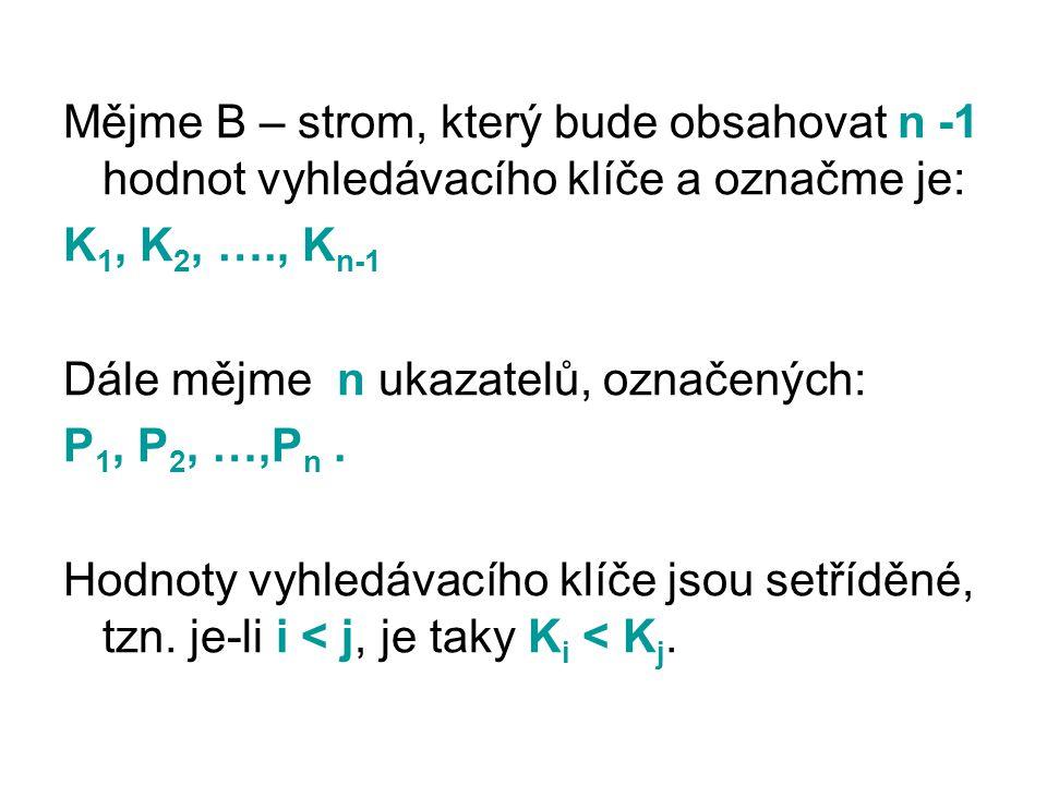 Mějme B – strom, který bude obsahovat n -1 hodnot vyhledávacího klíče a označme je:
