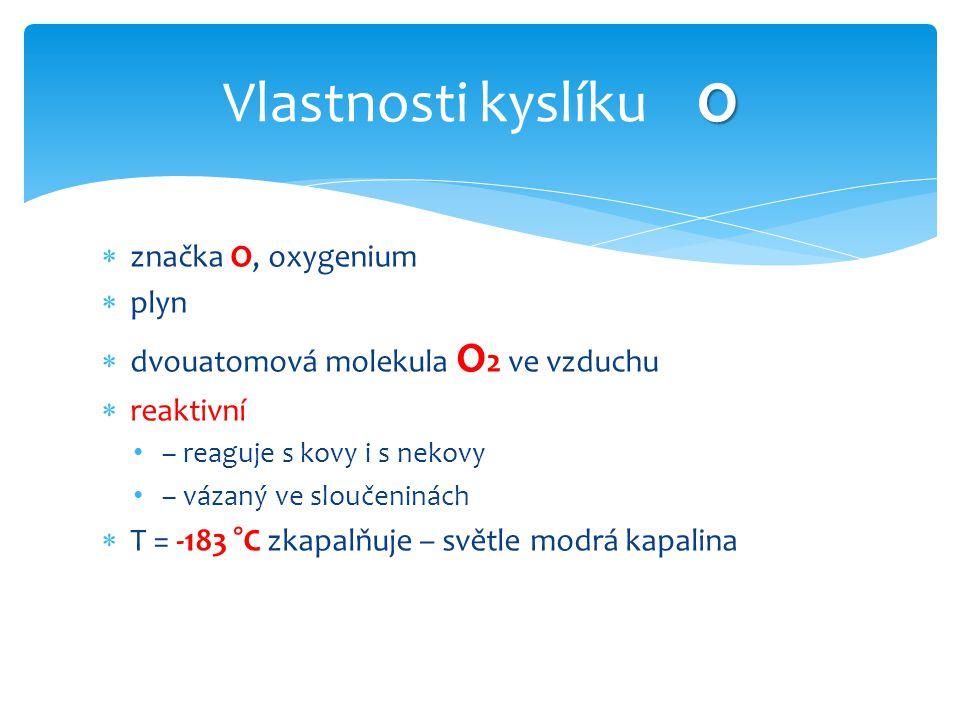 Vlastnosti kyslíku O značka O, oxygenium plyn