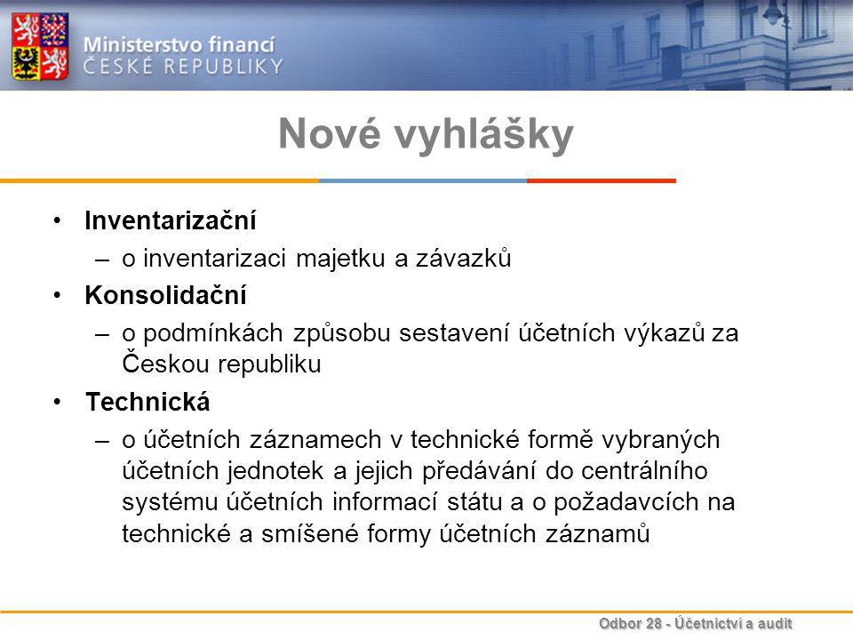 Nové vyhlášky Inventarizační o inventarizaci majetku a závazků