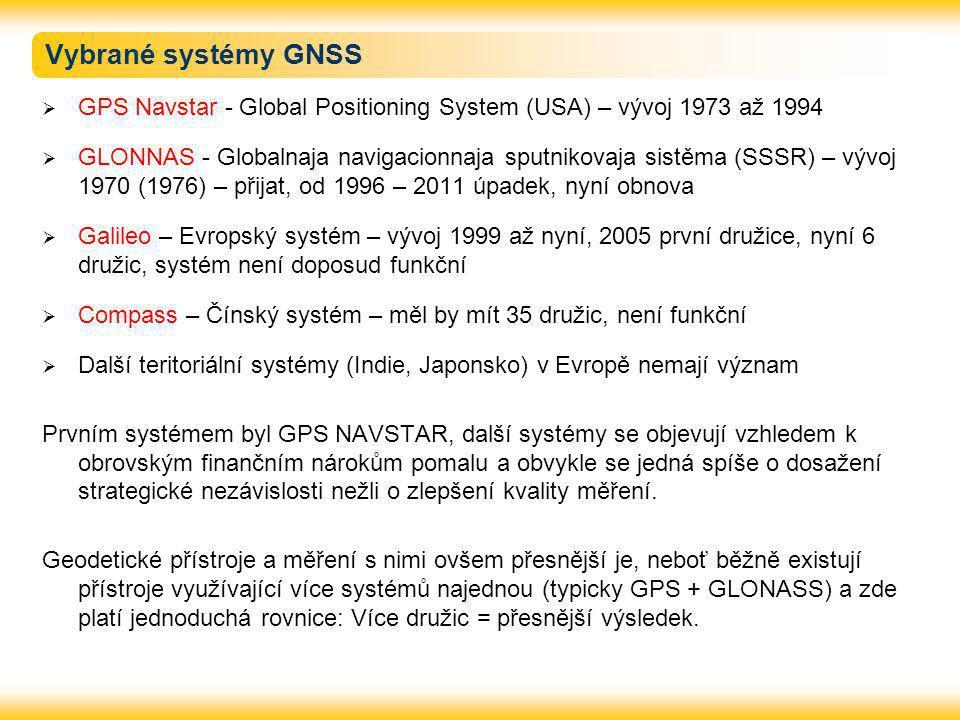 Vybrané systémy GNSS GPS Navstar - Global Positioning System (USA) – vývoj 1973 až 1994.
