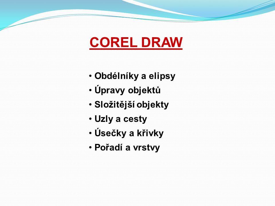 COREL DRAW Obdélníky a elipsy Úpravy objektů Složitější objekty
