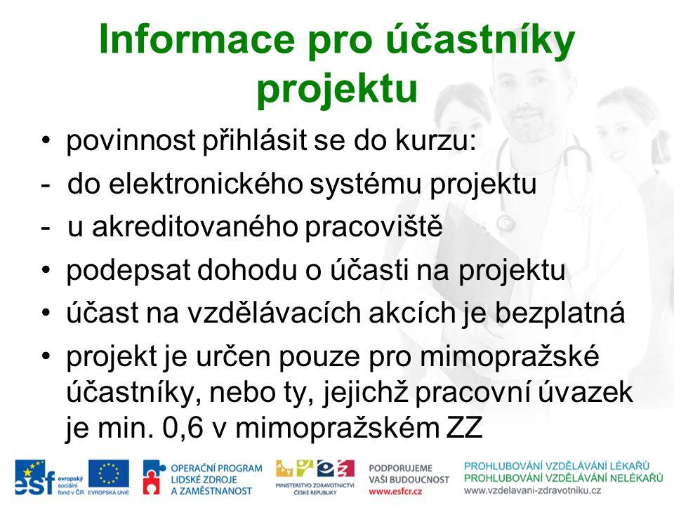 Informace pro účastníky projektu