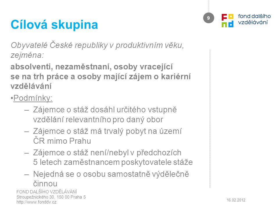Cílová skupina Obyvatelé České republiky v produktivním věku, zejména:
