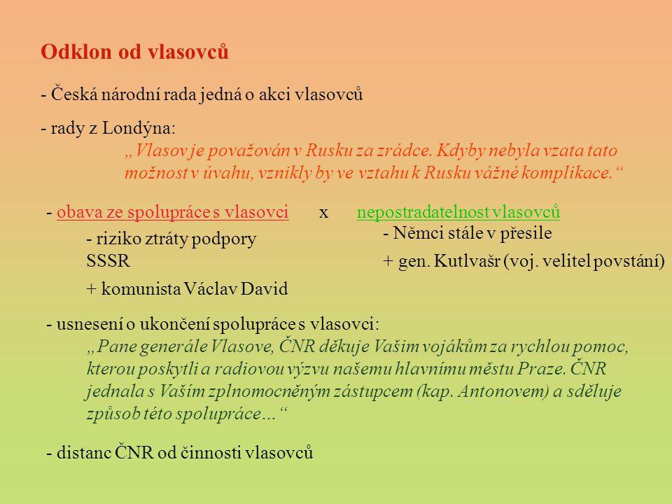 Odklon od vlasovců - Česká národní rada jedná o akci vlasovců