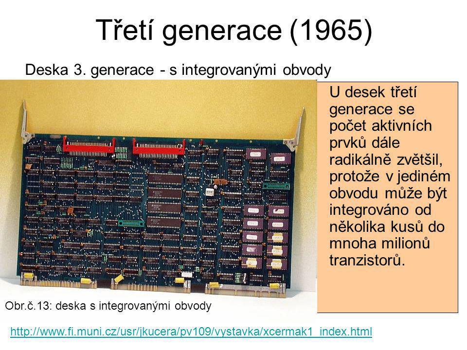 Třetí generace (1965) Deska 3. generace - s integrovanými obvody