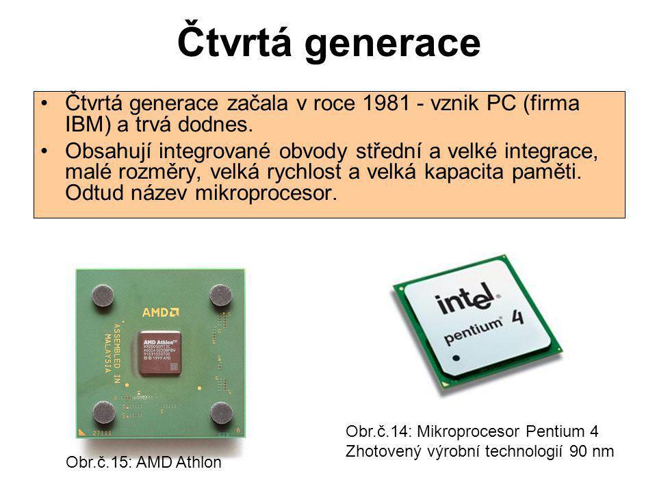 Čtvrtá generace Čtvrtá generace začala v roce 1981 - vznik PC (firma IBM) a trvá dodnes.