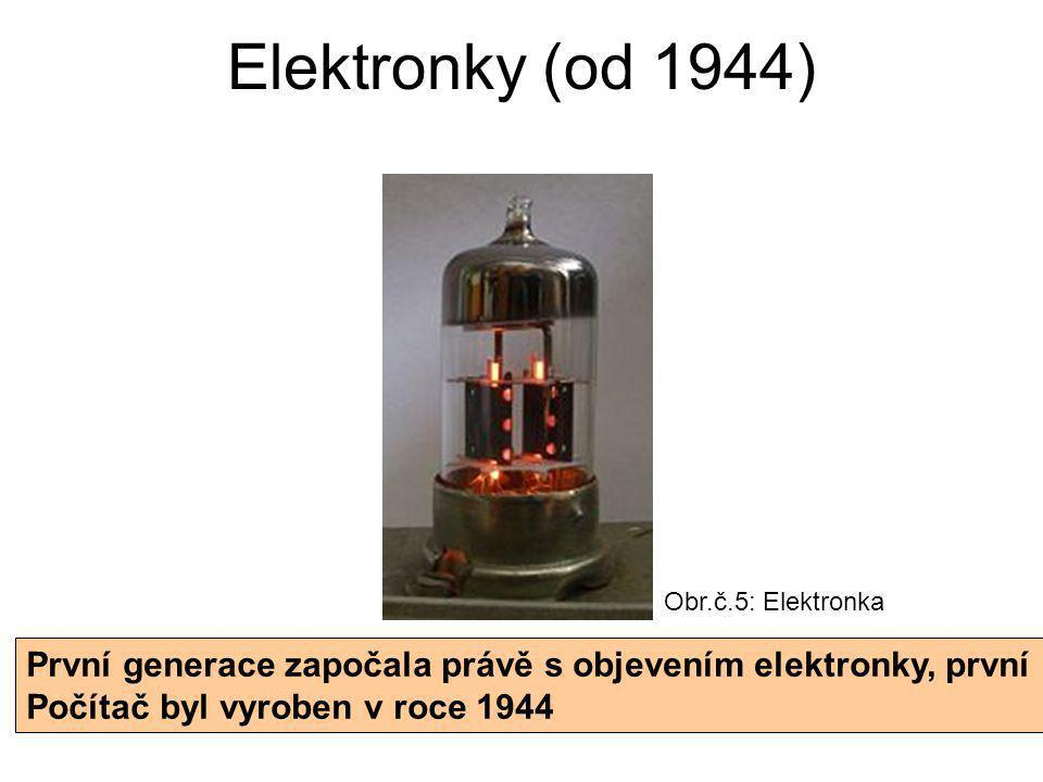 Elektronky (od 1944) Obr.č.5: Elektronka. První generace započala právě s objevením elektronky, první.