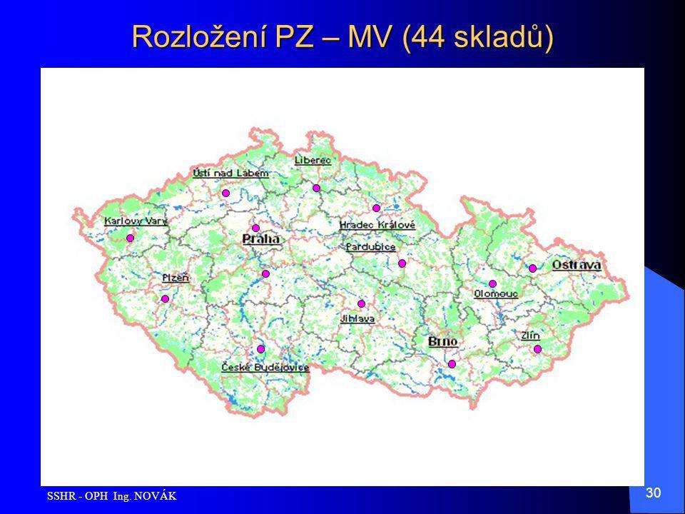 Rozložení PZ – MV (44 skladů)