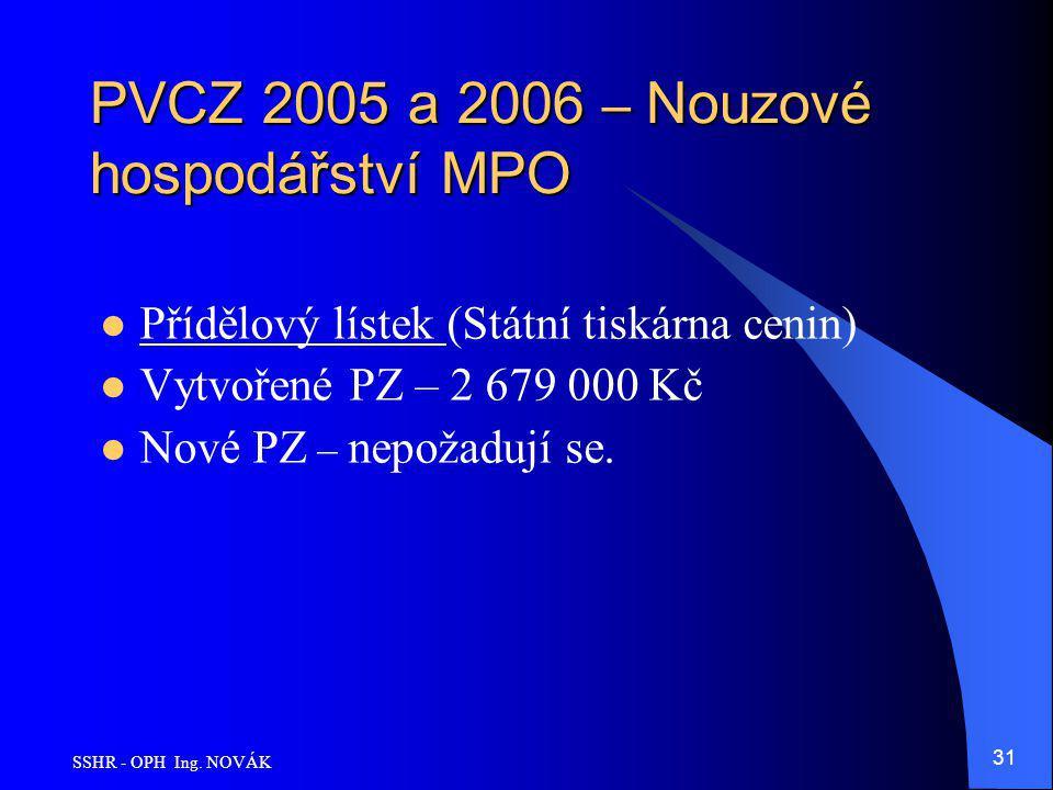 PVCZ 2005 a 2006 – Nouzové hospodářství MPO