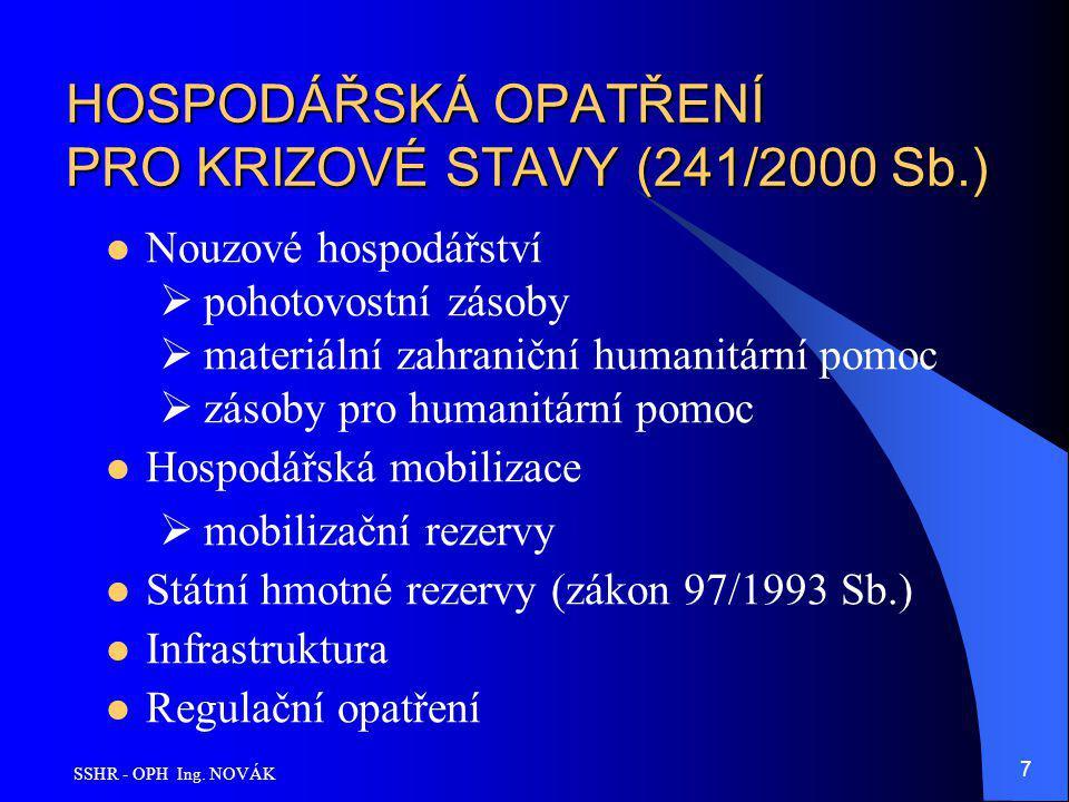 HOSPODÁŘSKÁ OPATŘENÍ PRO KRIZOVÉ STAVY (241/2000 Sb.)