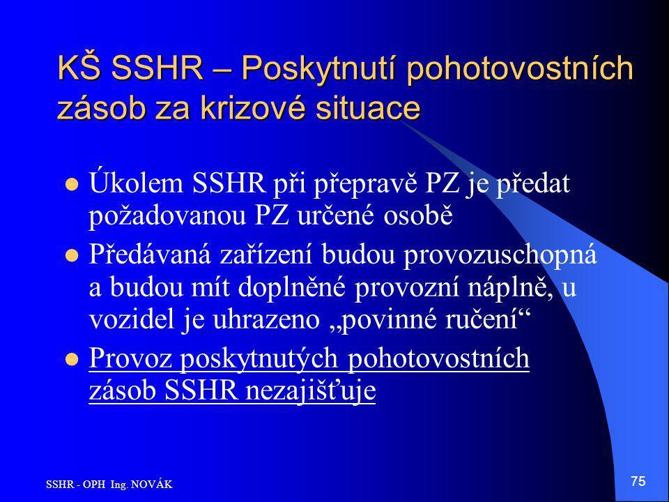 KŠ SSHR – Poskytnutí pohotovostních zásob za krizové situace