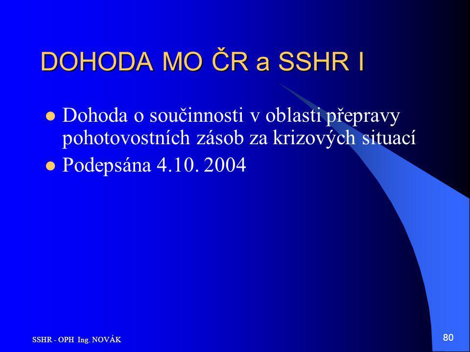 DOHODA MO ČR a SSHR I Dohoda o součinnosti v oblasti přepravy pohotovostních zásob za krizových situací.