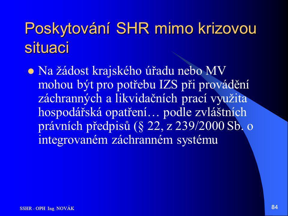 Poskytování SHR mimo krizovou situaci