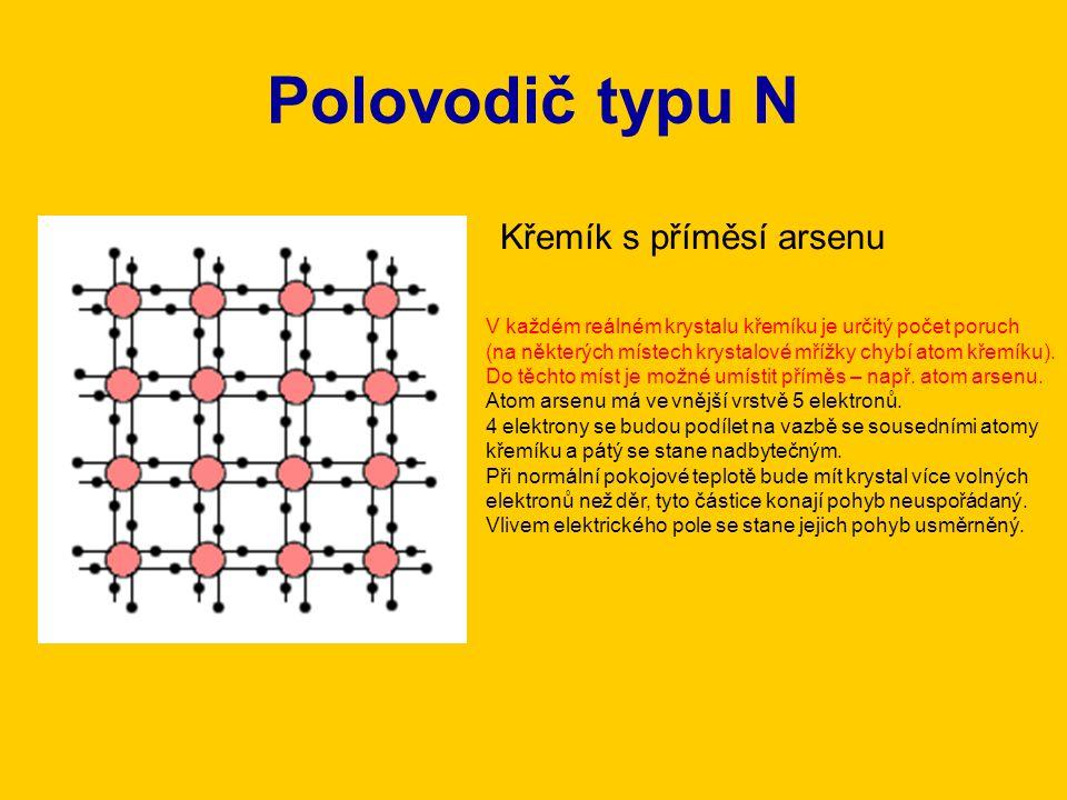 Polovodič typu N Křemík s příměsí arsenu
