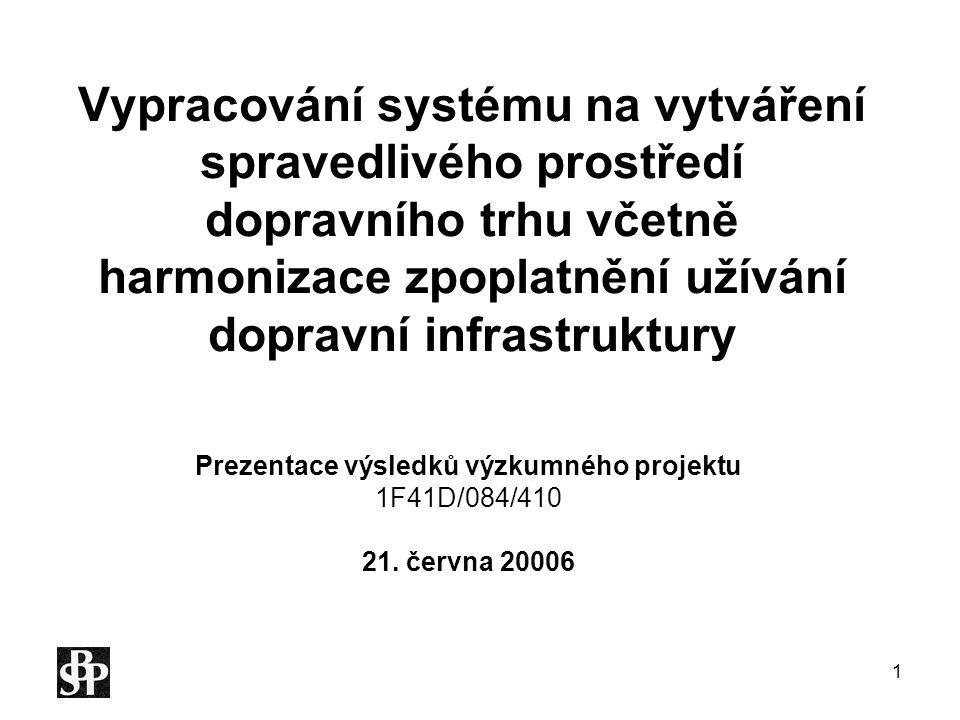 Prezentace výsledků výzkumného projektu 1F41D/084/410 21. června 20006