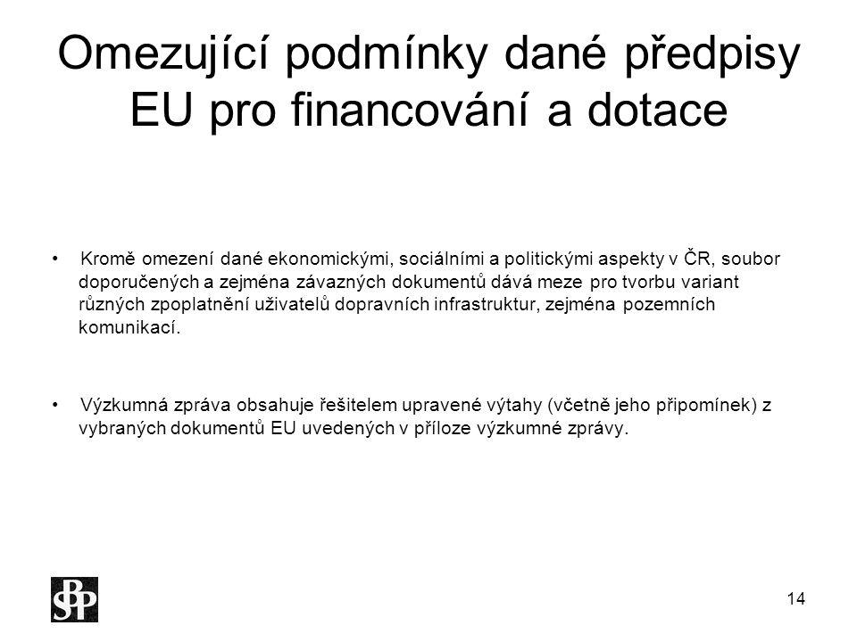 Omezující podmínky dané předpisy EU pro financování a dotace