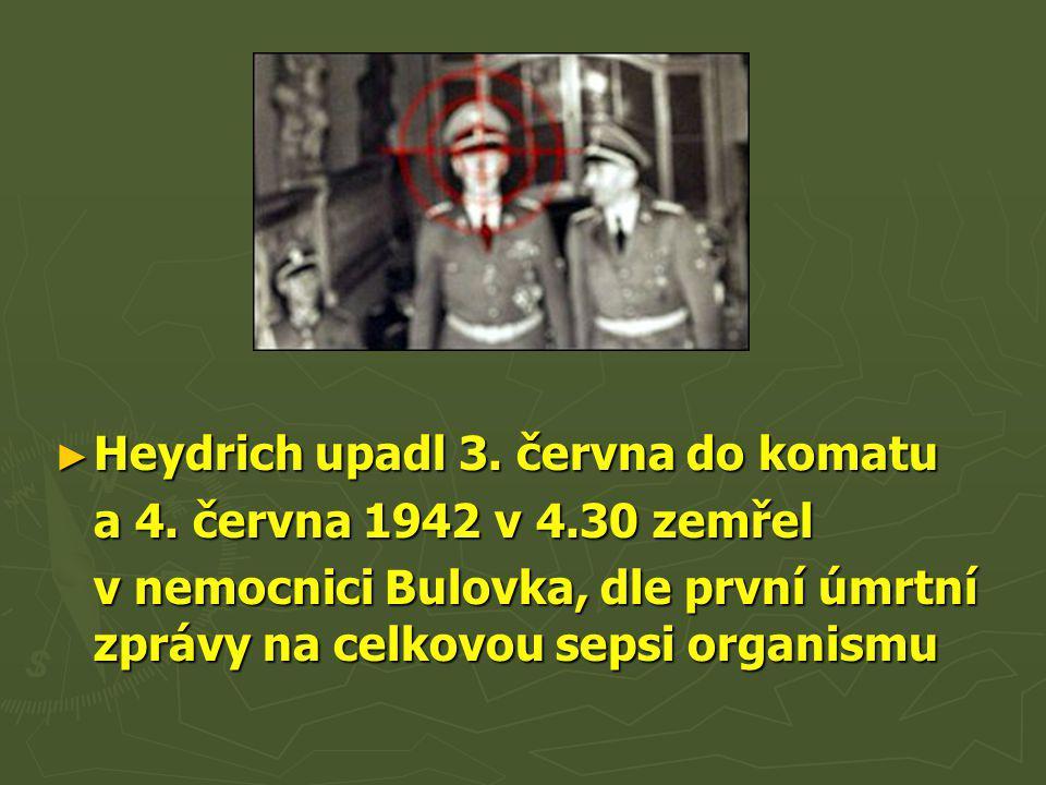 Heydrich upadl 3. června do komatu