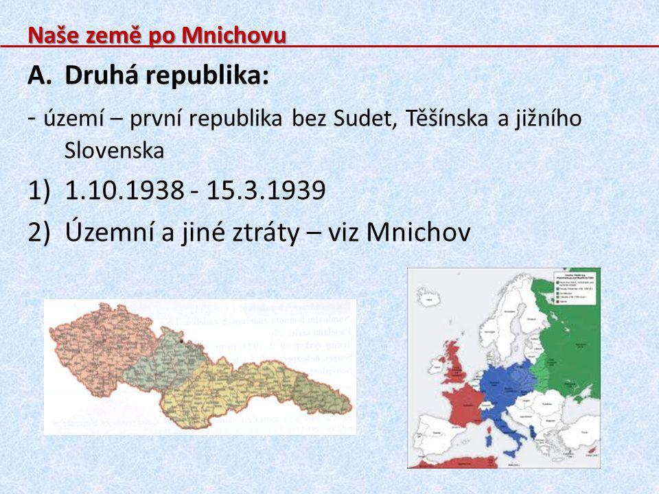 - území – první republika bez Sudet, Těšínska a jižního Slovenska