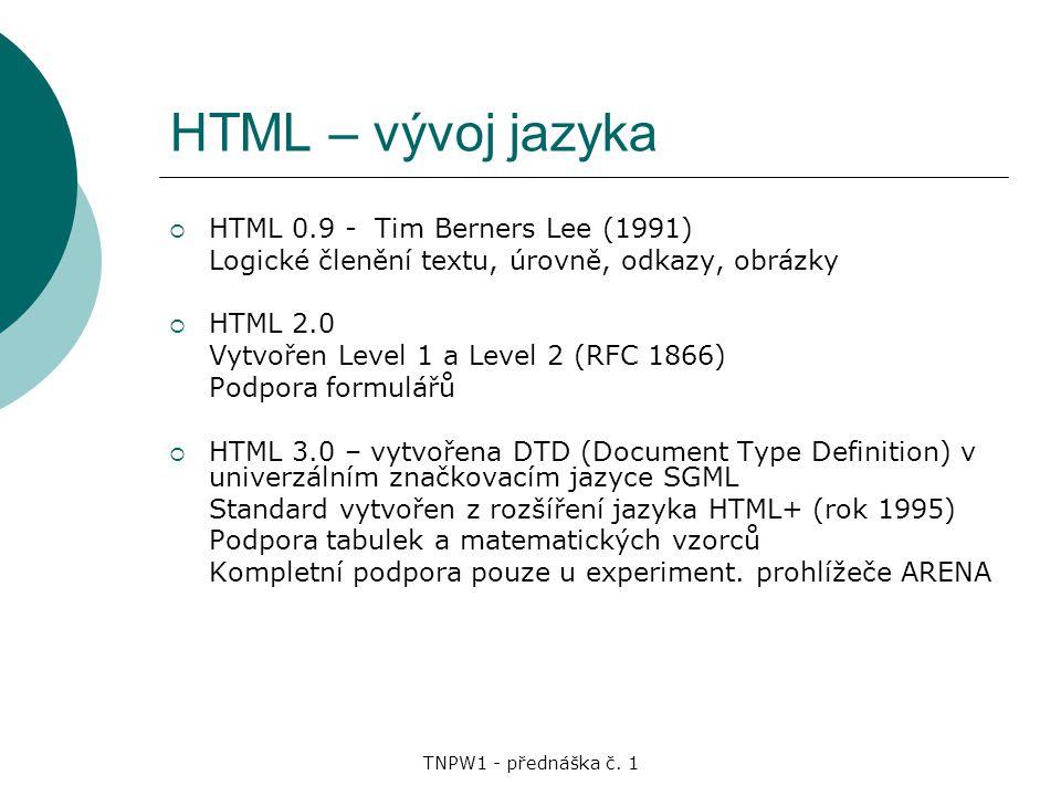 HTML – vývoj jazyka HTML 0.9 - Tim Berners Lee (1991)