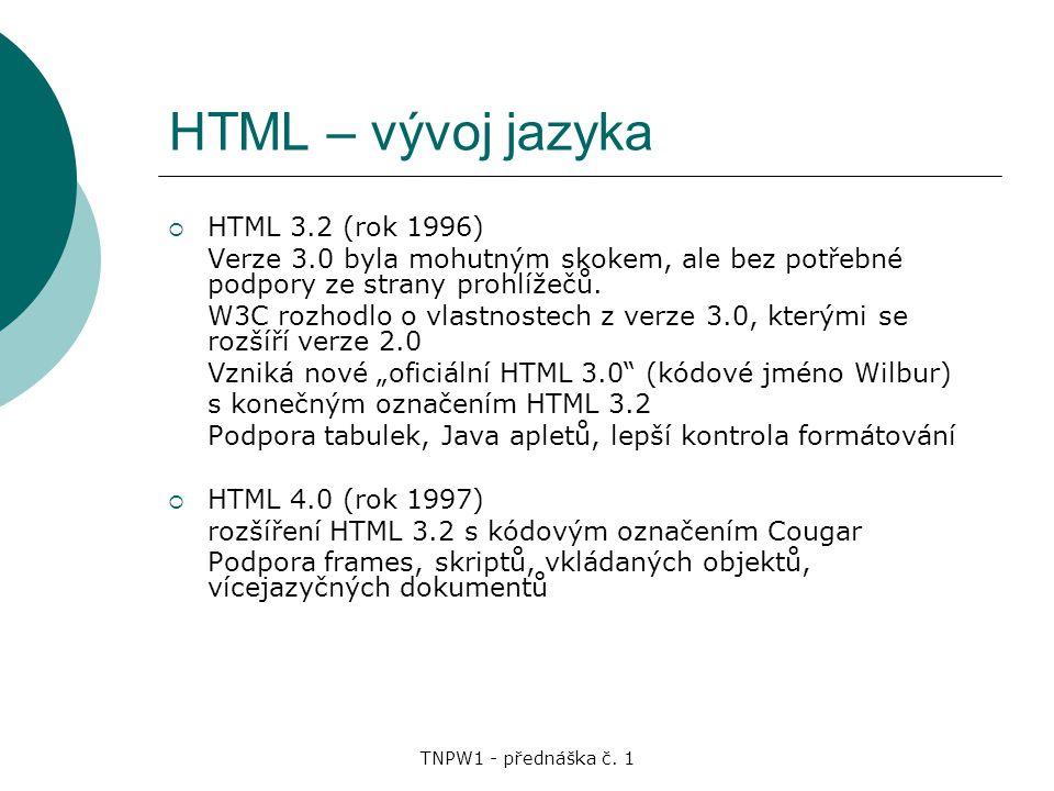 HTML – vývoj jazyka HTML 3.2 (rok 1996)