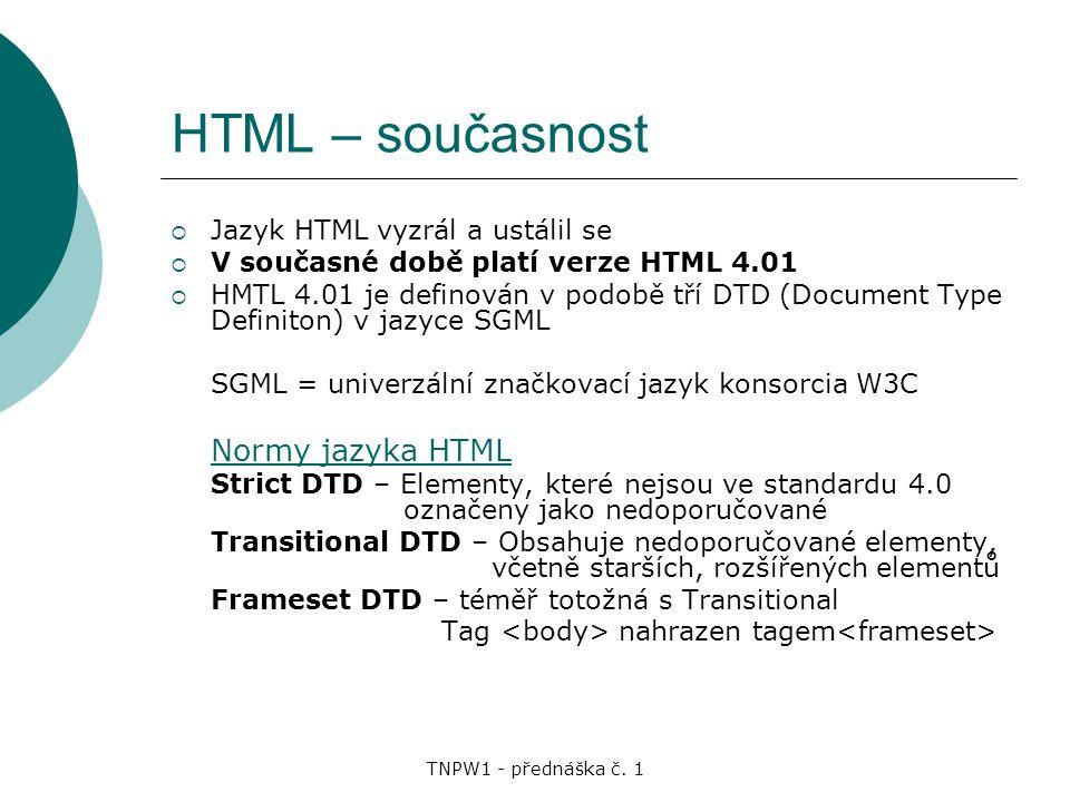 HTML – současnost Normy jazyka HTML Jazyk HTML vyzrál a ustálil se