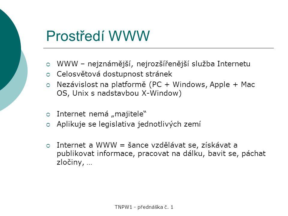 Prostředí WWW WWW – nejznámější, nejrozšířenější služba Internetu
