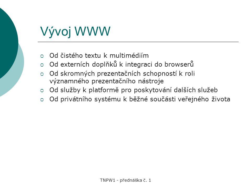 Vývoj WWW Od čistého textu k multimédiím