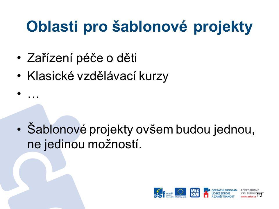 Oblasti pro šablonové projekty