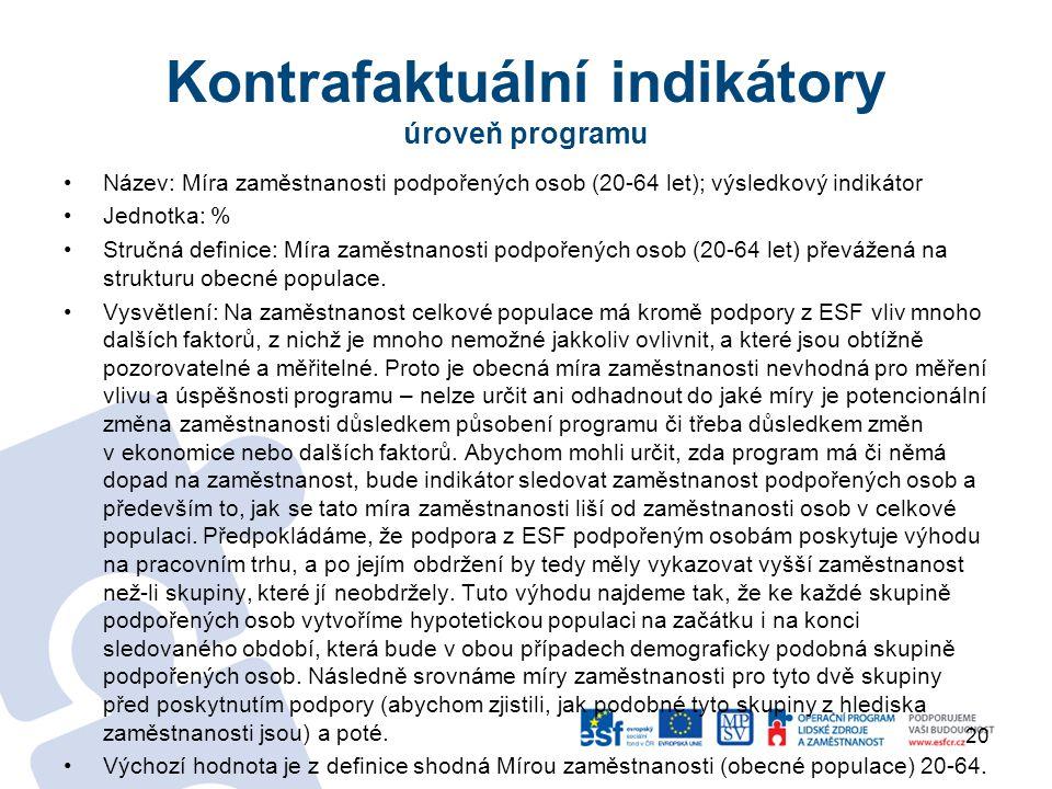 Kontrafaktuální indikátory úroveň programu
