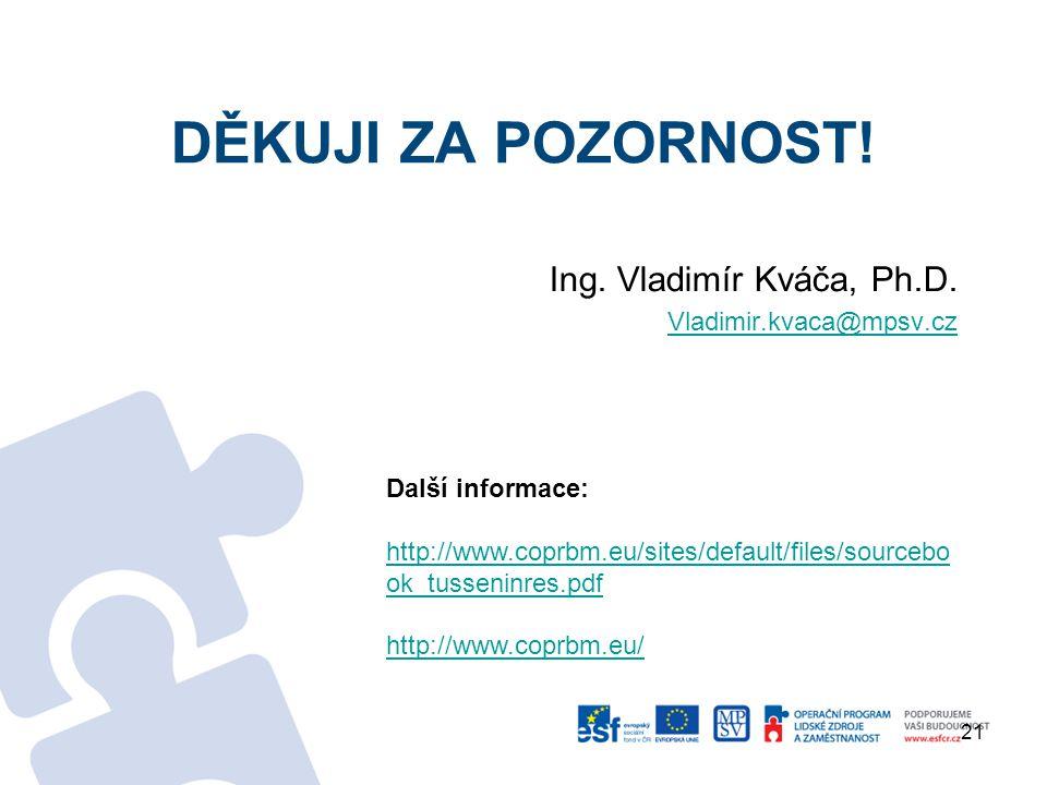 děkuji za pozornost! Ing. Vladimír Kváča, Ph.D. Vladimir.kvaca@mpsv.cz