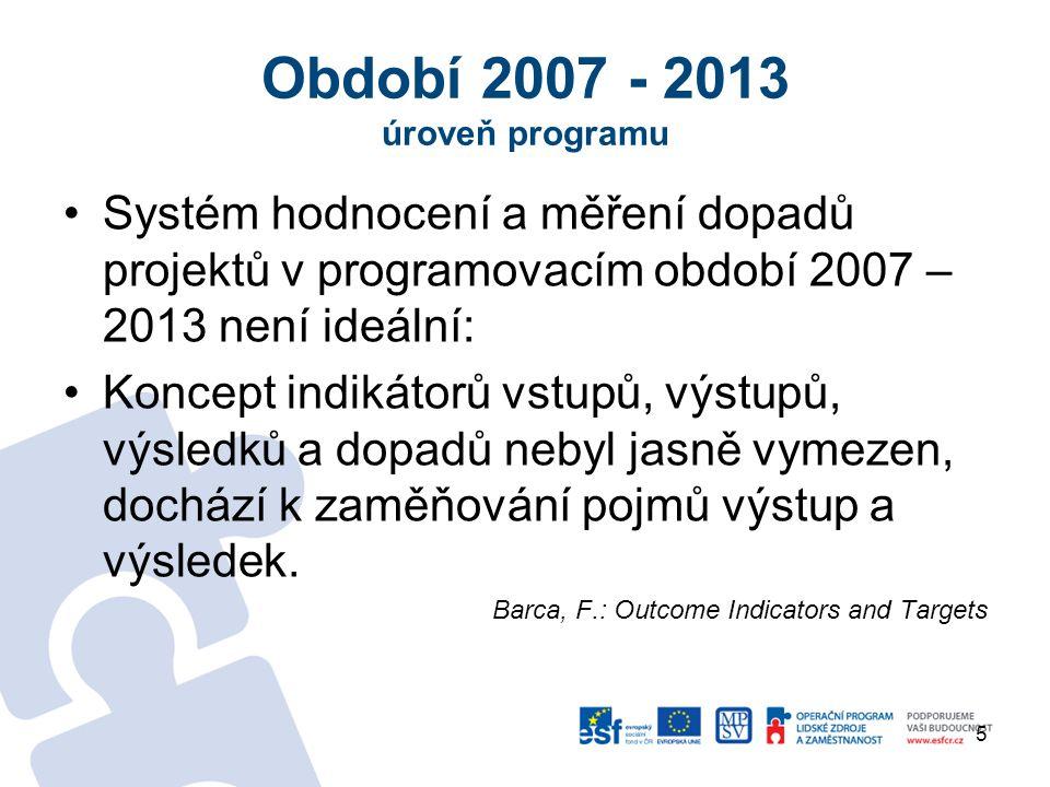 Období 2007 - 2013 úroveň programu
