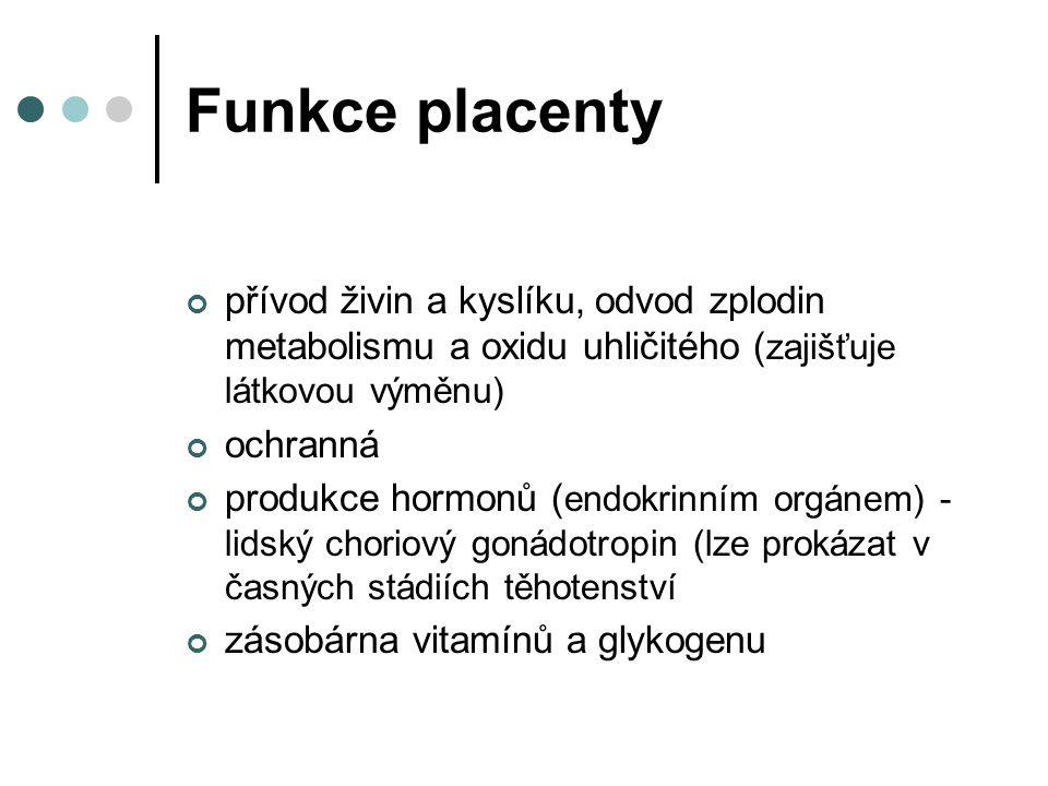 Funkce placenty přívod živin a kyslíku, odvod zplodin metabolismu a oxidu uhličitého (zajišťuje látkovou výměnu)