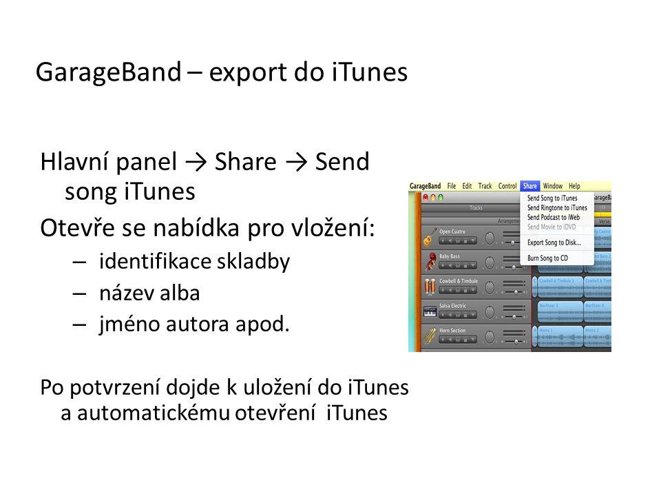 GarageBand – export do iTunes