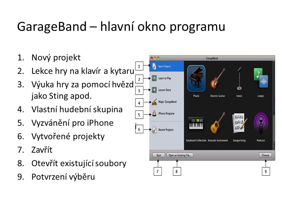 GarageBand – hlavní okno programu