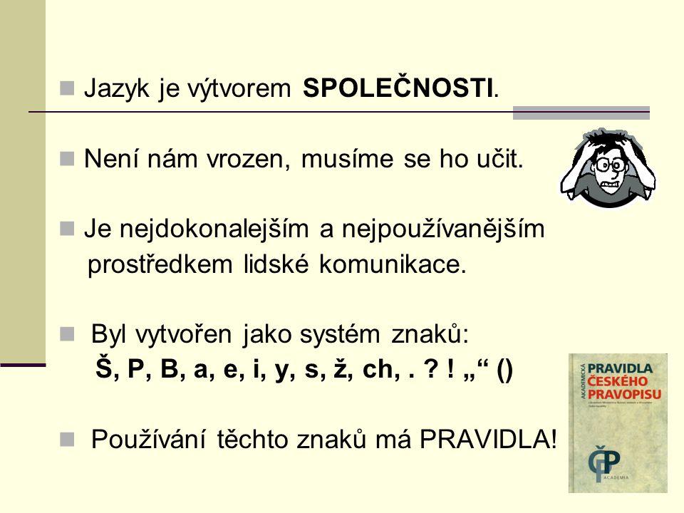 Jazyk je výtvorem SPOLEČNOSTI. Není nám vrozen, musíme se ho učit.