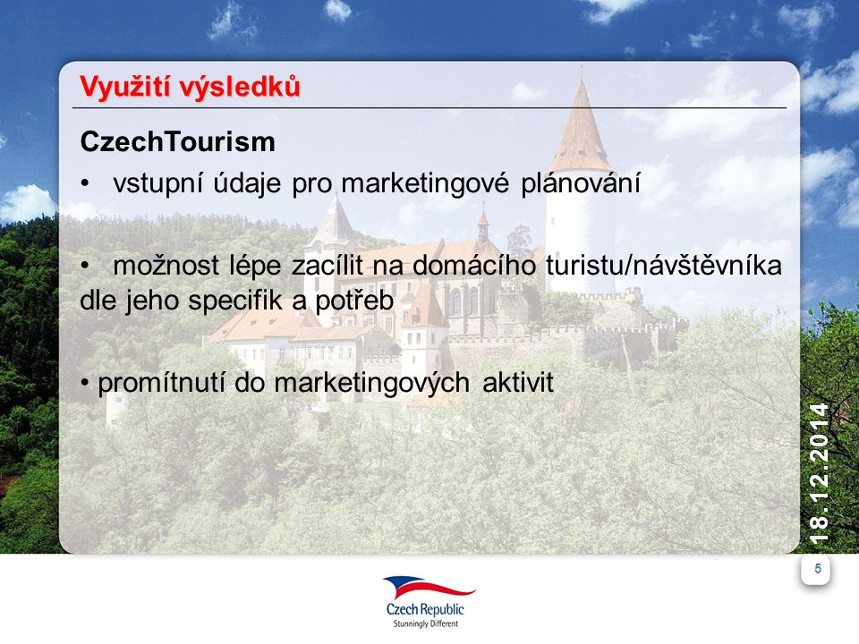 Využití výsledků CzechTourism. vstupní údaje pro marketingové plánování.