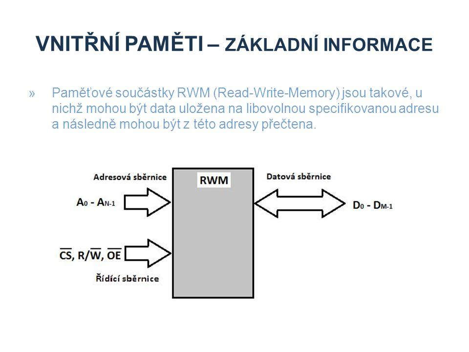 Vnitřní paměti – základní informace
