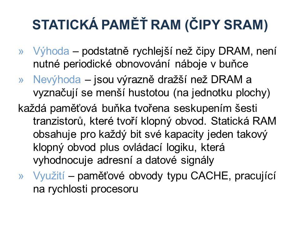 statická paměŤ RAM (čipy sram)
