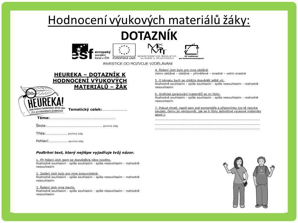 Hodnocení výukových materiálů žáky: DOTAZNÍK