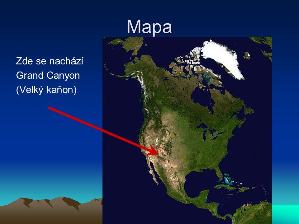 Mapa Zde se nachází Grand Canyon (Velký kaňon)